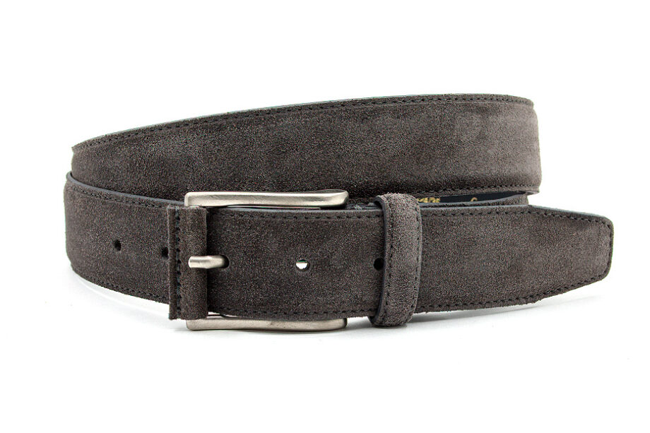 Donker taupe suede riem